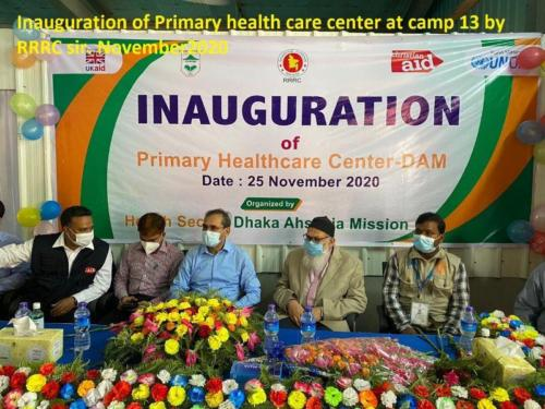 (16) Inauguration of Primary health care center at camp 13 by RRRC sir. November2020